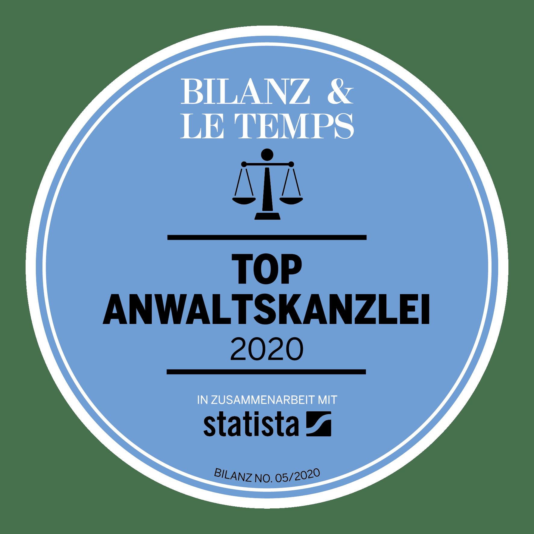 Auszeichnung von Bilanz und Le Temps als Top Anwaltskanzlei 2020