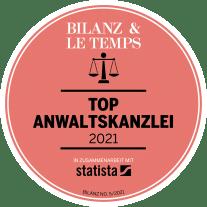 Auszeichnung von Bilanz und Le Temps als Top Anwaltskanzlei 2021